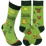 Awesome Gardener Colorfully Printed Cotton Socks from Primitives by Kathy