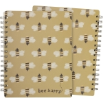 Bumblebee Print Design Bee Happy Sprial Notebook (120 Lined Pages) from Primitives by Kathy