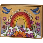 Vibrant Rainbow & Bird Design Think Happy Thoughts Decorative Wooden Block Sign 7 Inch x 5.5 Inch from Primitives by Kathy