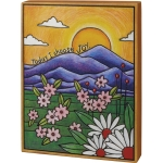 Morning Flowers Wood Burned Art Today I Choose Joy Decorative Wooden Box Sign 9x12 from Primitives by Kathy