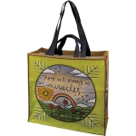 Sun Rainbow & Flowers There Will Always Be Miracles Double Sided Market Tote Bag from Primitives by Kathy
