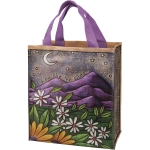 Woodburned Design Mountains & Daisies Shine Like The Stars Daily Tote Bag from Primitives by Kathy