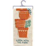 Flower Pot Design Grow With The Flow Cotton Kitchen Dish Towel 20x26 from Primitives by Kathy