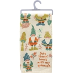 Gnome Print Design Just Stayin' Home With My Gnomies Cotton Kitchen Dish Towel 20x26 from Primitives by Kathy