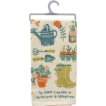 To Plant A Garden Is To Believe In Tomorrow Cotton Kitchen Dish Towel 20x26 from Primitives by Kathy