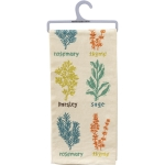 Herb Print Design Cotton Kitchen Dish Towel (Parsley Sage Rosemary Thyme) from Primitives by Kathy
