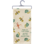 Snail Butterfly & Dragonfly Enjoy The Little Things Cotton Kitchen Dish Towel 20x26 from Primitives by Kathy