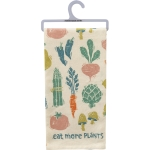 Vegetable Print Design Eat More Plants Cotton Kitchen Dish Towel 20x26 from Primitives by Kathy