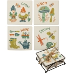 Set of 4 Garden Themed Stonware Drink Coasters (Grow Bloom Hope Dream) from Primitives by Kathy