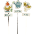 Set of 3 Wooden Garden Picks (Watering Can Grow & Butterfly Hope & Gnome Dream) from Primitives by Kathy