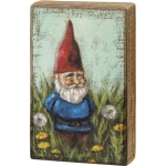 Gnome In Dandelion Field Decorative Wooden Block Wall Décor Sign 5x8 from Primitives by Kathy