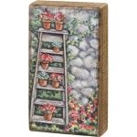 Colorful Replicated Painting Garden Ladder Wooden Wall Décor Hanging 4.5 Inch x 8 Inch from Primitives by Kathy