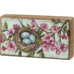 Colorful Robin's Nest Replicated Painting Wooden Block Sign 8 Inch x 4.5 Inch from Primitives by Kathy