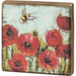 Colorful Red Poppies & Bumblebee Decorative Wooden Block Sign 5x5 from Primitives by Kathy