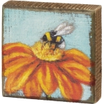 Colorful Bumblebee & Flower Pollenate Decorative Wooden Block Sign 3.5 Inch from Primitives by Kathy