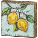Bumblebee & Lemons Decorative Wooden Block Sign 4.5 Inch from Primitives by Kathy
