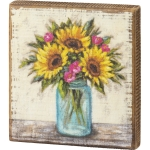Colorful Sunflowers In Vase Decorative Wooden Block Sign 5.5 Inch x 6 Inch from Primitives by Kathy