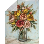Colorful Floral Vase Bouquet Cotton Kitchen Dish Towel 20x26 from Primitives by Kathy