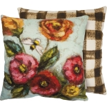 Bumblebee & Colorful Flowers Double Sided Cotton Throw Pillow With Zipper 15x15 from Primitives by Kathy