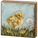 Yellow Baby Chick In Dandelion Field Decorative Wooden Block Sign 8x8 from Primitives by Kathy