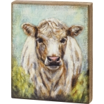 Shaggy Cow In Field Decorative Wooden Block Sign 9.5 Inch x 12 Inch from Primitives by Kathy
