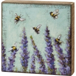 Bumblebees & Lavender Flowers Decorative Wooden Block Sign 10x10 from Primitives by Kathy