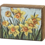 Colorful Daffodils Flower Print Design Decorative Wooden Block Sign 7 Inch x 5.5 Inch from Primitives by Kathy