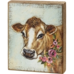 Farm Themed Cow With Floral Wreath Necklace Decorative Wooden Block Sign 8x10 from Primitives by Kathy