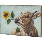 Cow With Sunflower Decorative Large Wooden Block Sign 30x22 from Primitives by Kathy