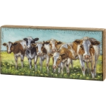 Farm Themed Cows In A Row Decorative Wooden Block Sign 16 Inch x 7.5 Inch from Primitives by Kathy