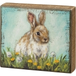 Bunny Rabbit In Flower Field Decorative Wooden Block Sign 8x7 from Primitives by Kathy