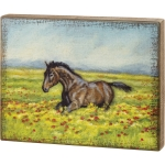 Horse In Flower Field Decorative Wooden Wall Décor Box Sign 14 Inch x 11 Inch from Primitives by Kathy
