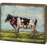 Farm Themed Dairy Cow With Flower Wreath Decorative Wooden Block Sign 6x5 from Primitives by Kathy