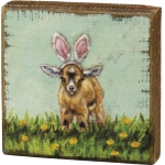 Kid Goat With Bunny Ears In Flower Field Decorative Wooden Block Sign 4.5 Inch from Primitives by Kathy