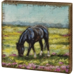 Black Horse Grazing In Flower Field Decorative Wooden Block Sign 6x6 from Primitives by Kathy
