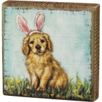 Puppy Dog With Pink Bunny Ears Decorative Wooden Block Sign 4x4 from Primitives by Kathy