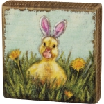 Yellow Baby Duckling With Pink Bunny Ears Decorative Wooden Block Sign 3.5 Inch from Primitives by Kathy