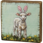 Baby Lamb With Pink Bunny Ears In Flower Field Decorative Wooden Block Sign 5x5 from Primitives by Kathy
