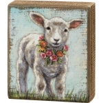 Baby Lamb With Floral Wreath Necklace Decorative Wooden Block Sign 6x7 from Primitives by Kathy