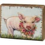 Baby Piglet With Floral Wreath Necklace Decorative Wooden Block Sign 5x4 from Primitives by Kathy