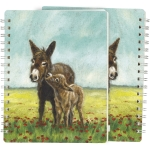 Mother & Baby Mule In Flower Field Spiral Notebook (120 Lined Pages) from Primitives by Kathy