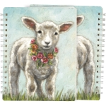 Baby Lamb With Floral Wreath Necklace Spiral Notebook (120 Lined Pages) from Primitives by Kathy