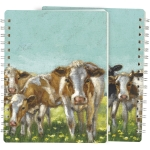 Farm Cows In Flower Field Spiral Notebook (120 Lined Pages) from Primitives by Kathy