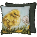 Yellow Baby Chick In Dandelion Field Decorative Cotton Throw Pillow 16x16  from Primitives by Kathy