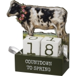Dairy Cow With Floral Wreah Decorative Wooden Block Countdown To Spring Sign from Primitives by Kathy