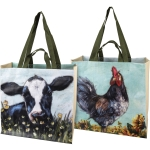 Double Sided Farm Animal Rooster & Cow Market Tote Bag from Primitives by Kathy
