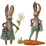 Set of 2 Felt Bunny Rabbit Figurines (Focus On The Good & Enjoy The Ride) from Primitives by Kathy