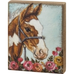 Horse In Rose Field Decorative Wooden Block Sign 8x10 from Primitives by Kathy