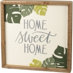 Botanical Felt Leaf Design Home Sweet Home Decorative Inset Wooden Box Sign 12x12 from Primitives by Kathy