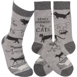 Cat Lover Easily Distracted By Cats Colorfully Printed Cotton Socks from Primitives by Kathy